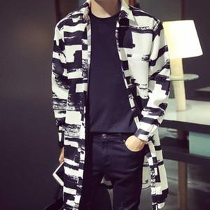 Nouveau style européen Hommes Manteau de mode coréenne Casual Couple Loaded en vrac long rayé Trench Jacket