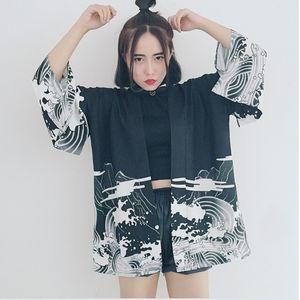 Bella Philosophy Japan style Japanese batwing sleeve kimono print vintage Harajuku Style Blouse Waves and Wind Dragon Shirts CX200711