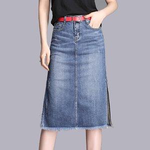 Estilo delgado femenino de verano en línea de Corea versión A- vestido de Midi-falda vaquera falda 2020 nueva moda con Side-Denim falda de hendidura
