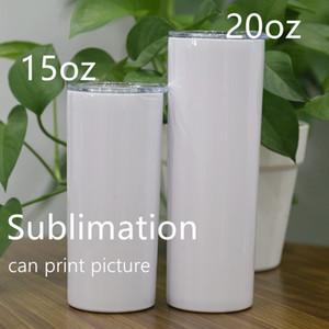 Sublimazione Tumbler dritto da 20 once con blank skinny tacchetti in acciaio inox Bottiglie di acqua in acciaio inox Vuoto tazza di trasferimento di calore isolato sottovuoto