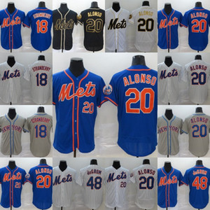 Mens 20 Pete Alonso Mets Jersey Bianco Nero Oro Edition 18 Darryl Strawberry 48 Jacob deGrom Tutti baseball cucito Maglie