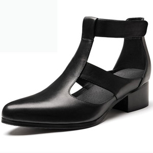 Mens del verano sandalias de tacón alto punta estrecha 5cm aumento de la altura Ascensor zapatos de cuero genuino sandalias de moda clásico 36-44