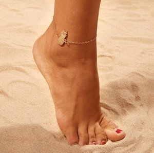 Pineapple Anklets Antique Silver Tone Alloy Womens Ankle Bracelets Animal Charm Barefoot Sandals