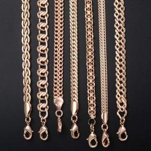 ewelry اكسسوارات Davieslee رجل إمرأة سلسلة قلادة 585 روز الذهب معبأ القلائد لأزياء الرجال النساء والمجوهرات بالجملة دروبشيب ...