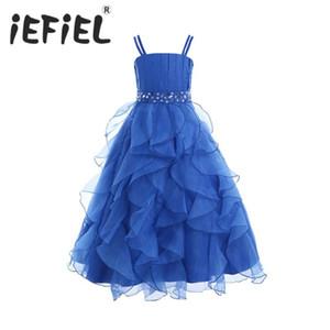 iEFiEL Kind-Mädchen gestickte Blumen-Bogen-formalen Partei-Ballkleid-Abschlussball-Prinzessin Bridesmaid Hochzeit Kinder Tutu-Kleid-Größe 4-14Y