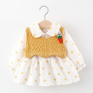 2020 kids clothes Autumn children's clothing Korean-style polka dot dress with knitted vest