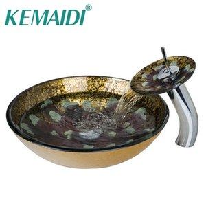 KEMAIDI ванной Круглый Раковина Прозрачный сосуд Закаленное стекло Раковина с водопадом кран Классический Умывальник Set