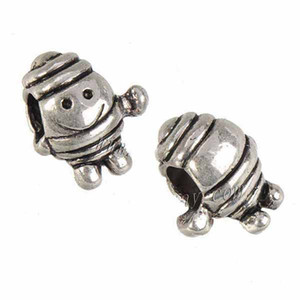 Jewelry Findings Charms Beads Bangles European Bracelets DIY 3D Robot Doll Smile Large Hole Loose Vintage Silver Metal 14mm 100pcs