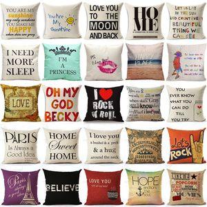 Almofada Caso Pillow 45x45cm Capa de Almofada Home Sweet Cotton linho Carta da luz do sol Amor Sofá Quarto decorativa fronha