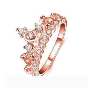 Zircon Crystal Diamond Crown Ring Women Rose Gold Ring finger rings Bridal Rings Wedding Jewelry Rose Gold Plated CZ Rings Drop ship