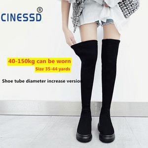 Inverno sopra il ginocchio CINESSD Superficie 44 Slim Black Women Shoes caldi Flock sexy stivali per donna stivali donna elastico Botas altas Mujer