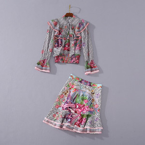 European and American women's clothing 2020 summer new style Shirt long sleeves and flounce Printed fishtail skirt Fashion suits