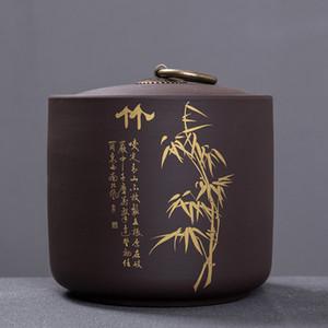 Китайский стиль бамбука печати Хранение чая Box Чай Jar 9,8 * 10.2cm Candy Jar сушеные фрукты Контейнер Фиолетовый Клей Пряности Коробка для хранения CX200803
