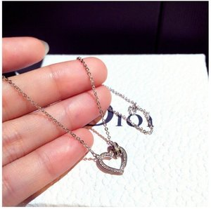 Dainty elegant brass rose gold plated hollow heart inlay shiny zircon pendant necklace for women jewelry