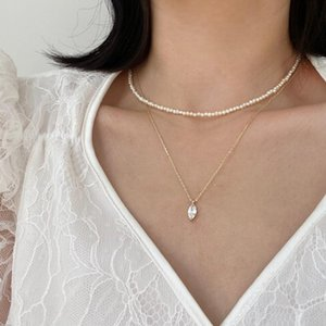 Natural pearl multilayered choker necklace sets for women Marquise zircon stone clavicle chain necklace gold color