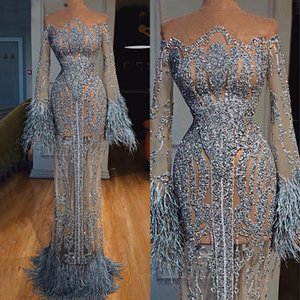 Vestidos de noite lindos com sash mangas compridas glitter lantejoulas de penas bainha vestido de bainha 2020 mais novo ruched personalizado vestido longo
