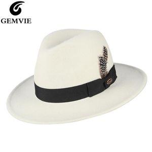 GEMVIE 100% Wool Hat White Felt Women Fedora Lady Wide Brim New Fashion Autumn Winter Panama Feather Jazz Cap