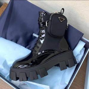 Top Quality PRABRANDS 2020 New Martin Boots Women's Pocket Bag Muffin Platform Ankle Boots Mid-tube Knight Boots Motorcycle Shoes