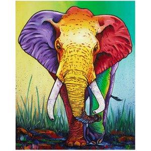 Color Elephant Animal 5D Diamond Round Rhinestone Embroidery Painting DIY Cross Stitch Kit Mosaic Draw Home Decor Art Craft Gift