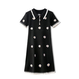 712 2020 Free Shipping Summer Brand Same Style Dress Short Sleeve Embroidery Lapel Neck Beads Kint Flora Print Runway Dress YUECHENG