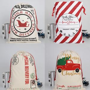 50 * 70cm Sac cadeau de Noël en toile de coton sacs de sucrerie de Noël Père Noël avec cordon de serrage Reindeers Livraison gratuite HHA1439