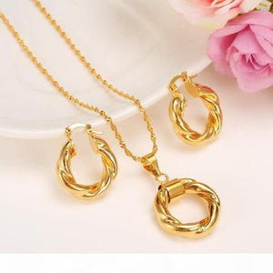 S 2017 New Big Hoop Earrings Pendant Women &#039 ;S Wedding Jewelry Sets Real 24k Yellow Solid Gold Gf Africa Daily Wear Gift Wholesale