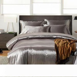 (3pcs 4pcs) set Luxury Soft Satin Silk Bed Sheet Set Hotel Quality Solid Color Bedding Set Silky Bed Flat Sheet Fitted Sheet Pillow Case