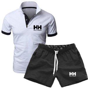 2020 디자이너 새로운 패션 남성 ShirtsTracksuit 여름 뜨거운 판매 남성 정장 폴로 셔츠 + 반바지 운동복을 인쇄하는 칼라 조수 편지 스탠드