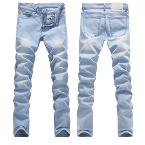 Mens-Qualitäts-Light Blue dünne Jeans Frühling Sommer Slim Fit Denim Jeans Male Cotton Stretch-Denim-Hosen-Cowboy-Hosen