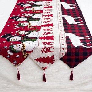 Ноэль Рождество стол украшения Вышитые Рождественская елка Elk Таблица Runners Natal украшения Navidad Новый год Декор Для дома SWFI #