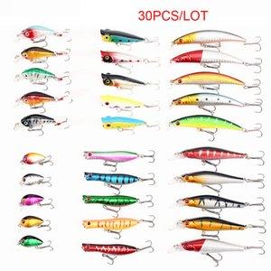 30pcs Lot Mixed Fishing Lure Lot Popper Minnow Crankbait Lure Set Artificial Wobblers Bass Pike Trout Hard Bait Treble Hook Freshwater Saltw