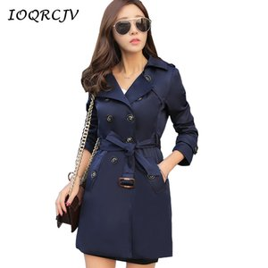 IOQRCJV Trench Femme Automne moyen long Outerwears Femme coupe-vent solide double breasted Pardessus Taille Plus S-5XL S140