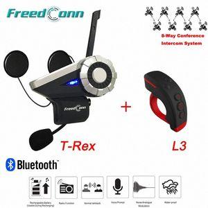 1500m 8 Riders Talking группа T-Rex Bluetooth Мотоцикл Интерком BT переговорные FM Шлем Интерком гарнитура + L3 Пульт дистанционного управления RYXg #