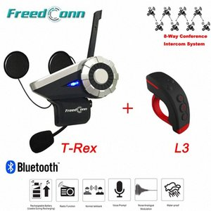 1500M 8 Riders Falar Grupo T-Rex Bluetooth Motocicleta Intercom BT Interphone FM Helmet Intercom Headset + L3 Remote Control RYXg #