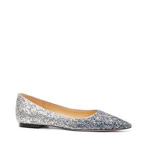 Kristal Kadın Düz Hapucky Sivri Burun Strass Tek Ayakkabı Kadınlar Düz Bling Luxury Parti Düğün Büyük Boyut 40 Ayakkabı