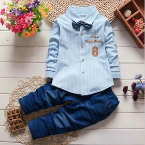 Mode garçons rayé Chemises + Pantalons enfants Costumes Vêtements pour enfants Vêtements Automne Set à manches longues Costume Gentleman