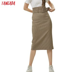 Tangada fashion women plaid skirt vintage work office ladies skirt with belt mujer retro mid calf skirts BE175 T200712