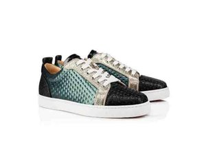 Women Low Cut Sneaker Red Soles Without Spiked Junior Orlato Flat Creative Leather Low Top Sneakers Version Multi Genuine Leather Green Flat