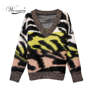 Winter Women's Thicken Oversized Sweaters V-Neck Leopard Tops New 2020 Fashionable Korean Style Knitting Casual Pullovers C-050