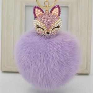 Cadena linda piel de Fox de bola de la perla del Rhinestone clave ps1095 RingKeyring Llavero del encanto del bolso del coche