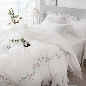 TUTUBIRD وايت الوردي التطريز نمط الكورية مجموعة الفراش أميرة البنات حاف القطن المصري أغطية السرير حجم غطاء الملكة الملك