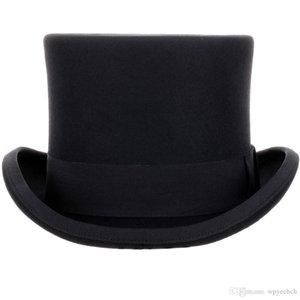 13,5 см высокие 100% шерстяная шляпа сатин под выкладкой президент Party's Men's Fairmer Derby Black Hat женщины мужчины Fedoras FGGCI