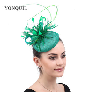 Nice sinamay wedding party hat fascinator fancy feather headpiece headband women elegant show race church millinery formal dress
