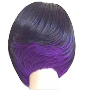 Machine Made Heat Resistant Fiber Ombre Balck to Purple Rose red Green Wig None Lace Fashional Hairstyles Synthetic Wigs for Women