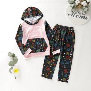 Neonato nuovo ragazze dei neonati vestiti a maniche lunghe Felpa con cappuccio + pantaloni di colore del fiocco di neve di stampa Bambini Autunno vestiti infantili 2pcs Stes