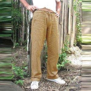 dos homens de cânhamo Casual Calças Pockets Vintage Linen solto Hetero Pant Praia Yoga Gym cordão Baggy Trousers Soild Color Plus Size CX200729
