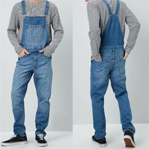 Jeans with Pockets Mens Designer Overalls Jeans Casual Mid Waist Street Style Jean Pants Straight Loose