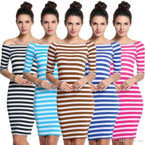 2017 Dresses for womens striped ladies fashion slim fix boho dresses Half Sleeve Knee Length Casual Off the Shoulder Pencil Dresses LYQ57 RF