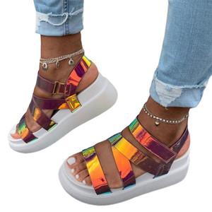 Mulheres Verão Ankle Strap Sandals Rainbow Color Platform Wedges peep toe moda casual sapatos de praia das senhoras