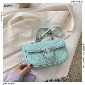 women's 2020 new fashion Korean fashion all-match Shoulder chain Lingge chain bag casual foreign style shoulder messenger bag